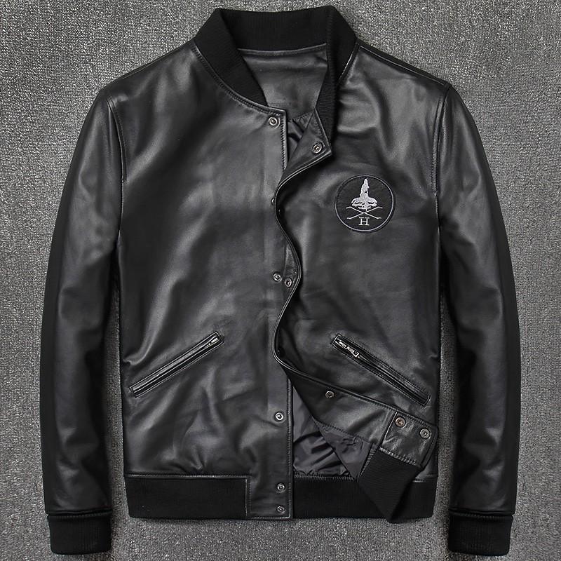 the best attitude 3a926 e62ac Giubbotto bomber da uomo in vera pelle moda aviatore 2018 casual nero in  vera pelle giacca da aviatore in pelle di pecora Streetwear