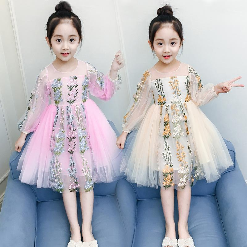 062b89c19eb7 2019 New Summer Spring Girls Kids Solid Color Embroidered Mesh Dress ...