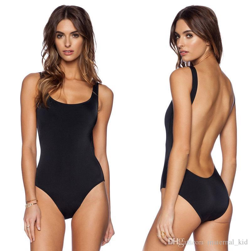 2019 Backless One Piece Swimsuit Black Womens Sexy Swimwear New Swimming Bathing Suits High Cut Ladies Monokini Maillot De Bain