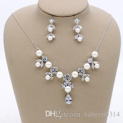 New Korean Zircon Pearl Pendant Bridal Earrings Necklace / Bridal Wedding Dress Accessories Jewelry / Into the store to choose more styles