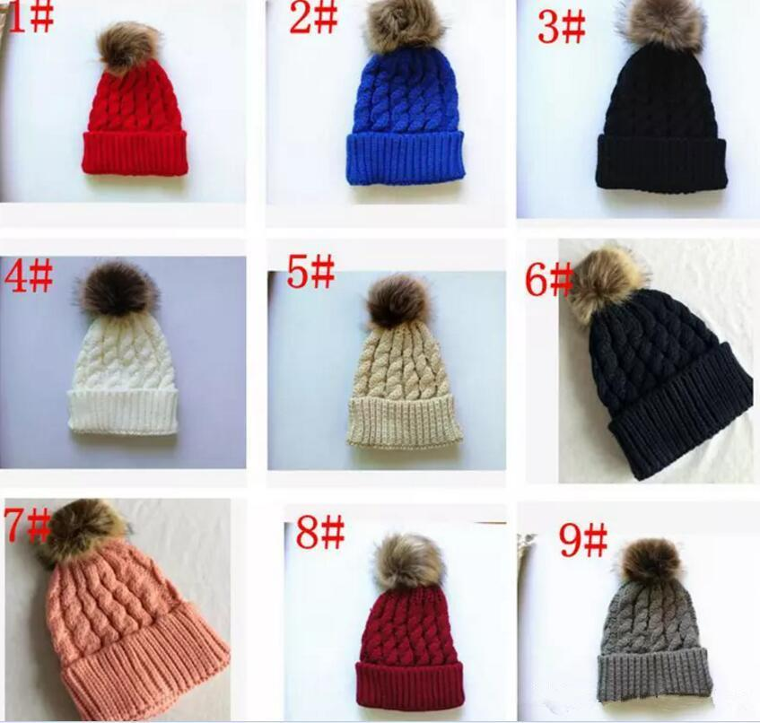 Winter Mom Women Baby Kids Girl Boy Newborn Crochet Knitted Hats Skull Caps Wool Fur Ball Pompom Beanies Hat