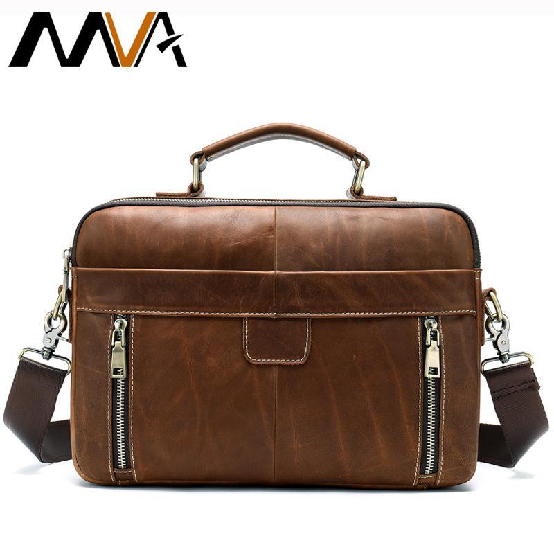 870964660718 MVA Men Briefcase Genuine Leather Messenger Bag Laptop 13   Leather Work Office  Bags For Men Bag Business Briefcase 8703 Leather Satchels Business Bags For  ...