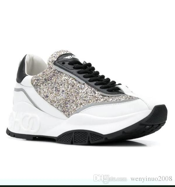 Branded Women Diamond Low Top Trainers Designer Lady Crystal Shimmer Suede TPU Sole Casaul Shoes With Box