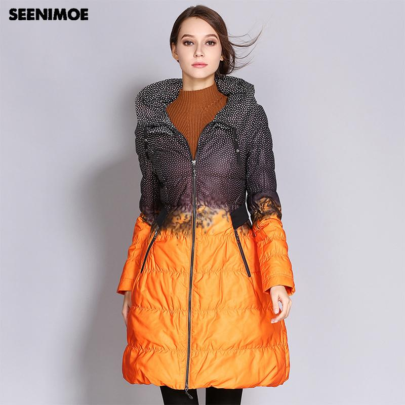 ad77692f2aecd Seenimoe 2018 Winter Plus Size Down Coat Women Parkas Female Long Duck Down  Padded Jacket Hit Color High Quality Womens Clothing UK 2019 From Shengui