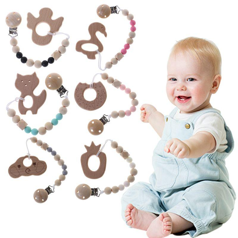 Baby Bling Pacifier Chain Clips Wood Teething Soother Holder Chain 8C