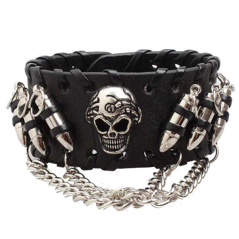 Men/'s Women/'s Skull Stainles Steel Chain Bullet Leather Bracelet Wristband Black