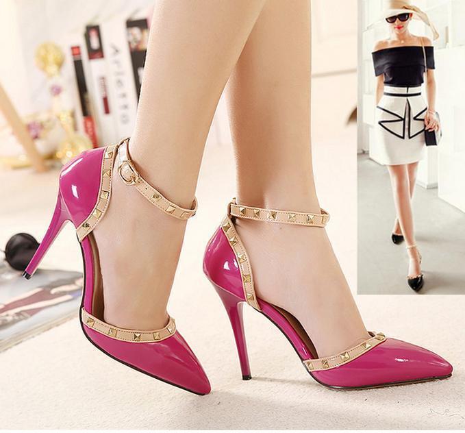 7362501e1ae41 Charm2019 Celeb Style Spitz Nieten Schuhe 2015 Frauen Pumps High Heels  Knöchelriemen Party Kleid Büro Schuhe zu