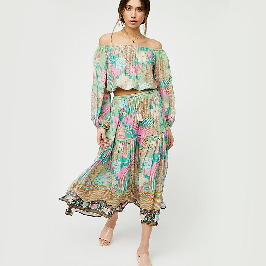 4f2f3cba0ef9b 2019 KHALEE YOSE Cloud Dancer Set Crop Top Maxi Skirt Two Piece Set Women  Sexy Boho Hippie Sexy Summer Beach Suit Sets 2019 From Piggyy