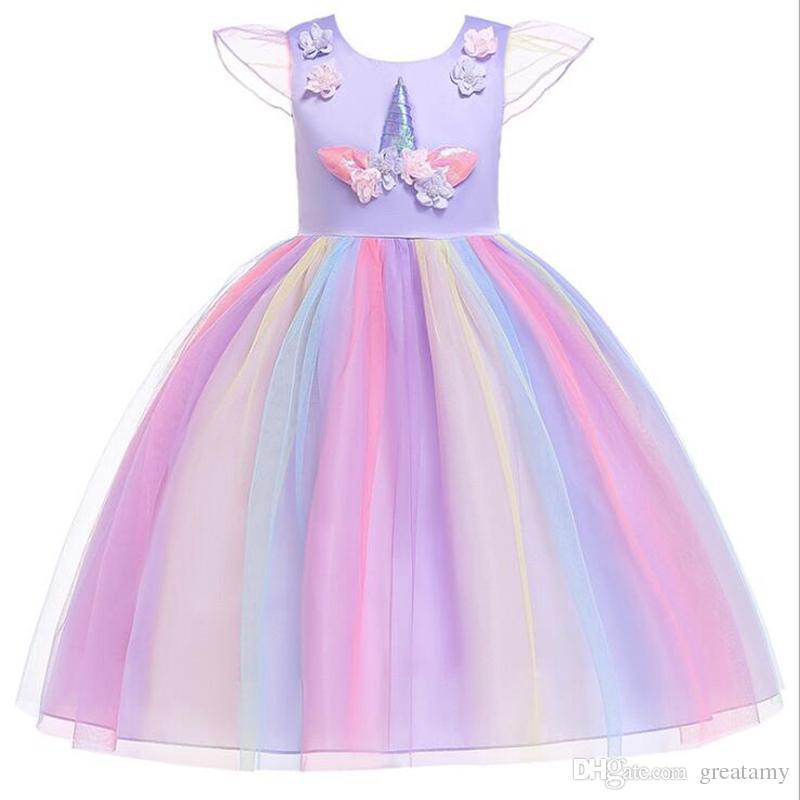 92ce947ce 2019 Unicorn Dress Girls Lace Sleeveless Dress Children Boutiques ...