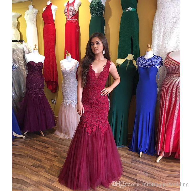 V-Neck Sleeveless Burgundy Lace Mermaid Prom Dress Floor Length Engagement Party Dresses for The Bride Sheer Back Discount Evening Dresses