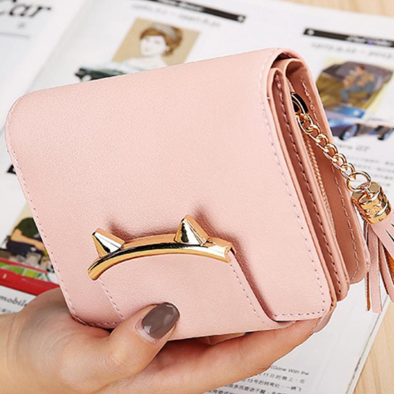 6a5509b8342a Women Standard Wallet Female Short Bag Tassel Cute Coin Fashion Simple  Purse Student Mini Wallet Clutch Card Holder Hand Bags