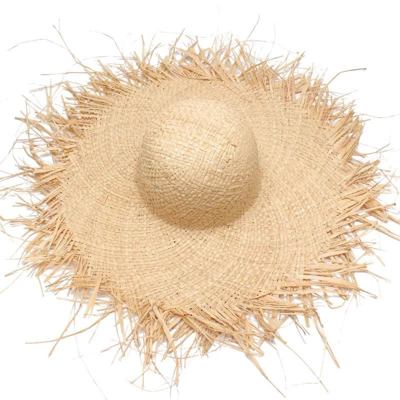 2018 NEW Handmade Women Straw Sun Hats Large Wide Brim Gilrs High Quality Natural Raffia Panama Beach Straw Sun Caps For