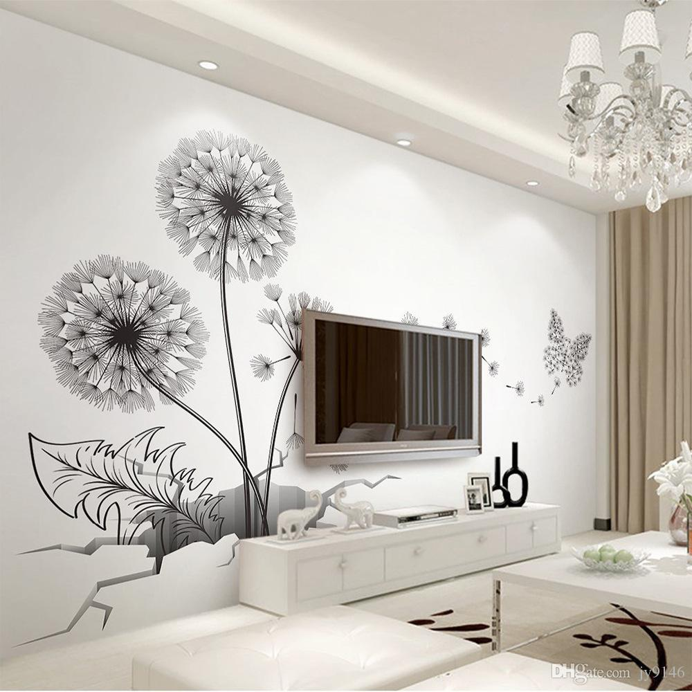 Black Dandelion Wall Decals DIY Broken Wall Plant Vinyl Decorative Stickers  for Living Room Bedroom Decoration Large Size Sticker Murals