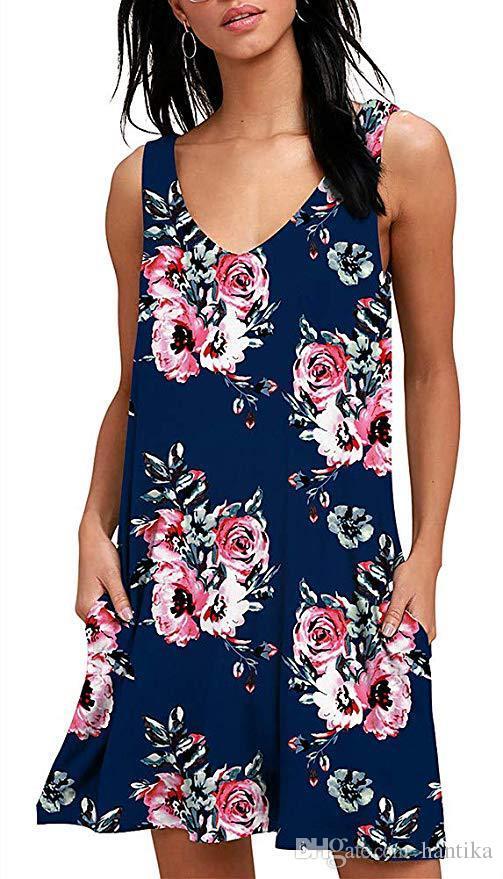 420ce4e989933 10 Style Women Mini Dress Summer Floral Print Beauty Boho Female Sleeveless  Retro Wear V Neck Printed Flower Pattern Loose Short Fashion