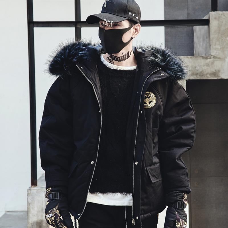 0fbf86c1e7a1 Acheter Nouveaux Hommes Hiver Épais Col De Fourrure À Capuche Parkas Veste Homme  Streetwear Hip Hop Punk Coton Manteau Rembourré De Mode Manteau Noir De ...