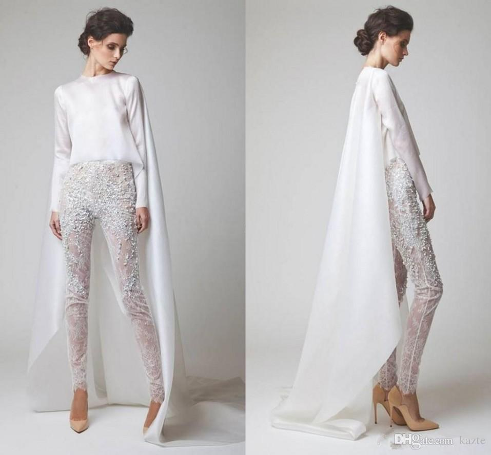 2019 New White Evening Dresses Two Pieces Chiffon Lace Pearl Trousers See Through Long Sleeves Elio Abou Fayssal Evening Gowns With Jacket