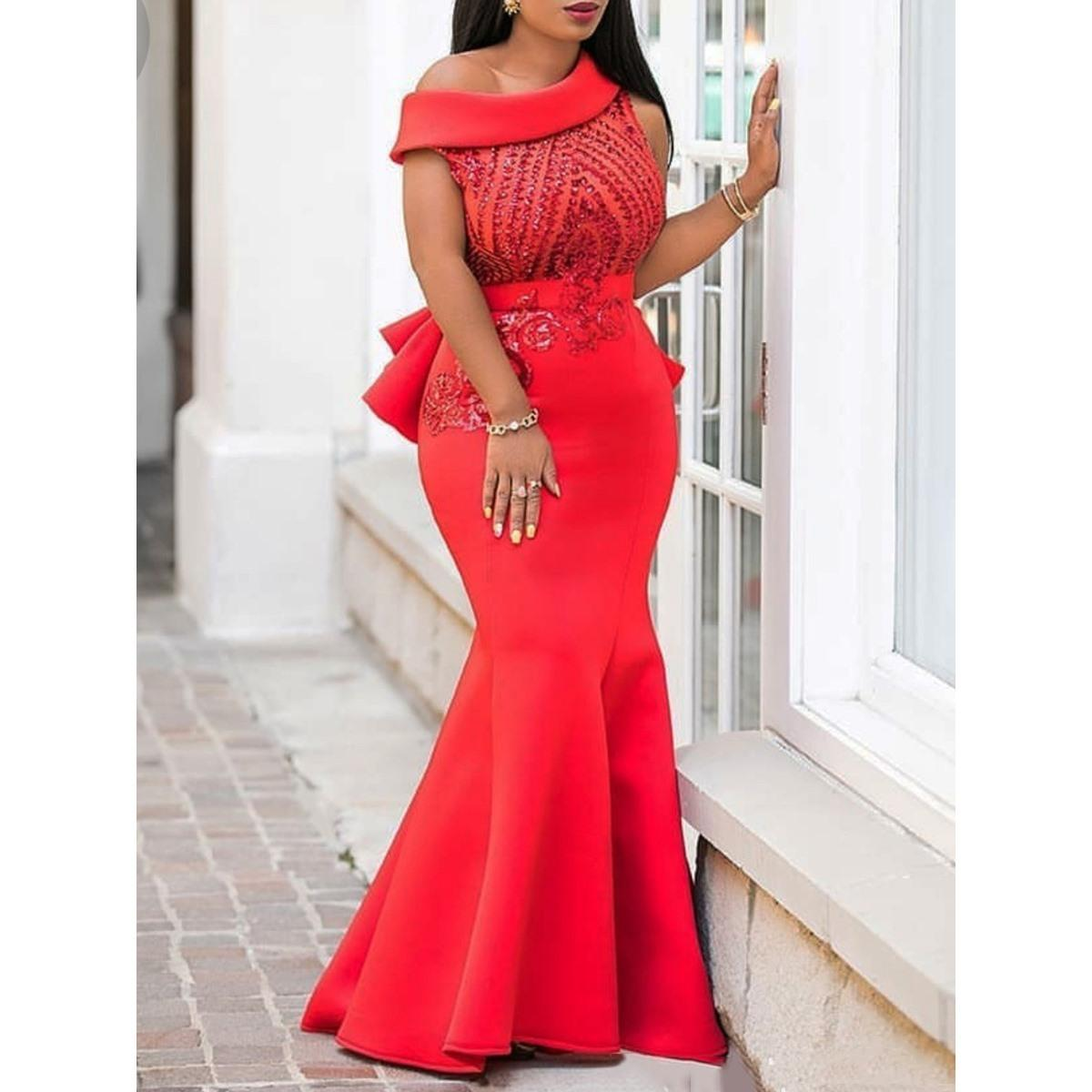 ed81e26abcd73 Sequins Bodycon Trumpet Party Dress Women Elegant Slim Ruffle Christmas  Ladies Prom Evening Formal Dinner Red Sexy Maxi Dresses T3190612
