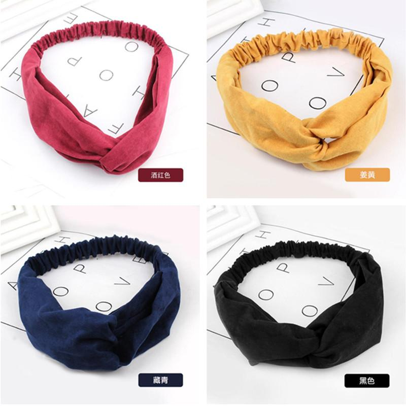 New Women Suede Soft Solid Headbands Vintage Cross Knot Elastic Hairbands Bandanas Girls Hair Bands Hair Accessories