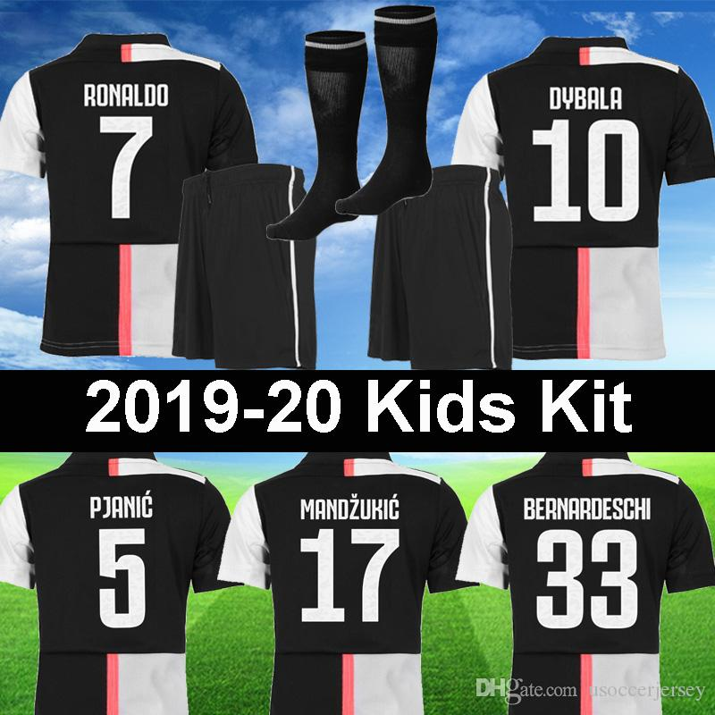 promo code 540c5 389f0 Juventus 2019 2020 soccer Jersey RONALDO kids Kit sets 18 19 20 DYBALA  PJANIC MANDZUKIC CHIELLINI BONUCCI boys football Shirt Child uniforms