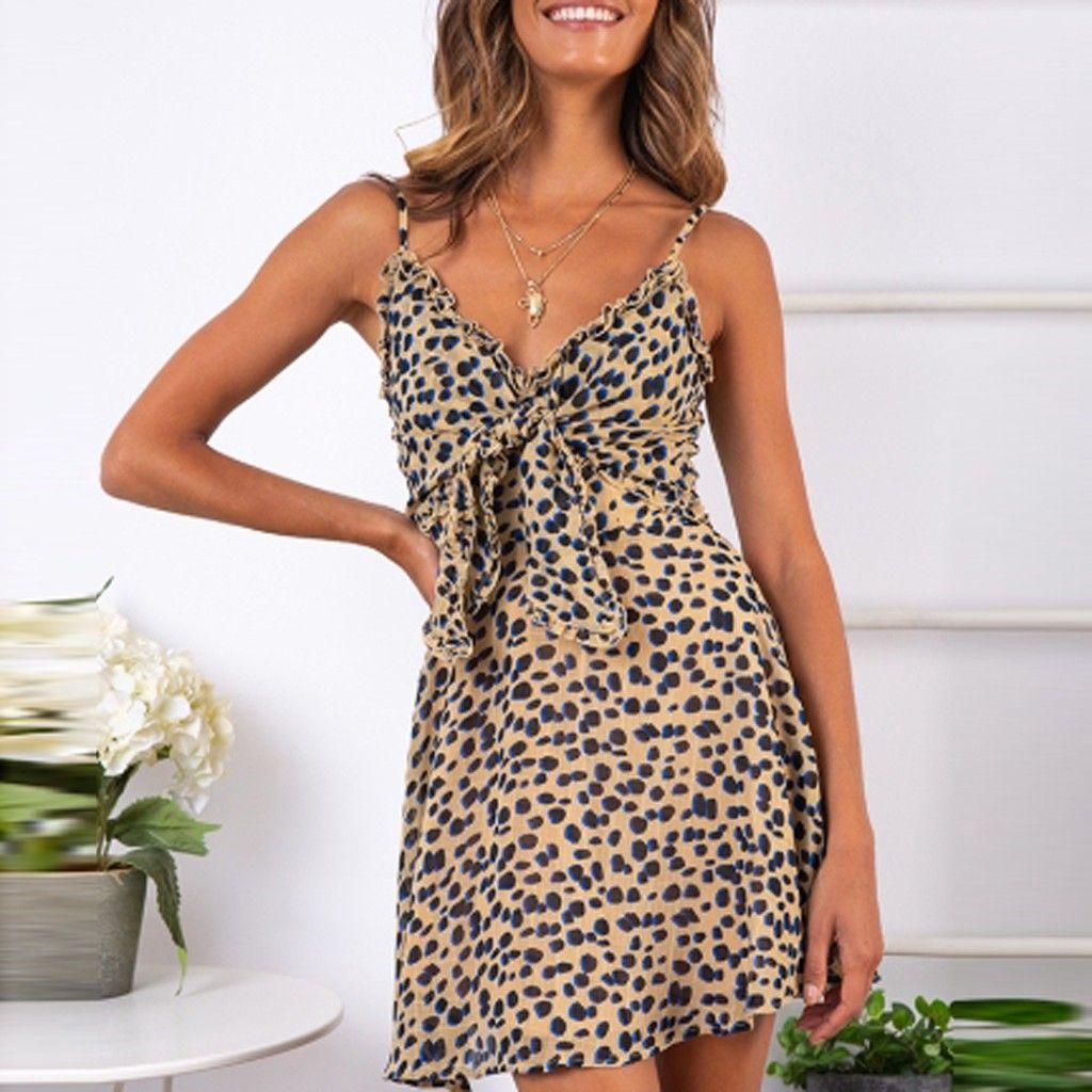 2019 NOVO Vestidos de Moda Da с леопардовым принтом Модные платья Женская рубашка Женская повседневная одежда Глубокий V-образный вырез Длинное макси-платье