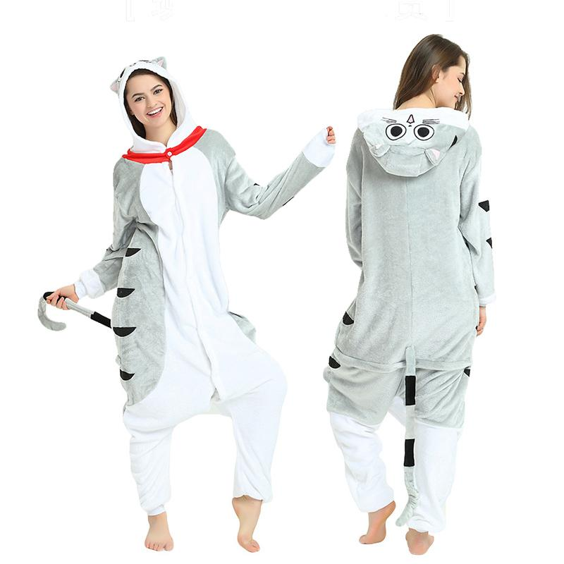 2019 Cute Cheese Cat Kigurumi Flannel Cartoon Onesie For Men Pajamas Night  Suit Set Cosplay Jumpsuit Party Sleepwear For Halloween From Home5 b6dbea6899d06