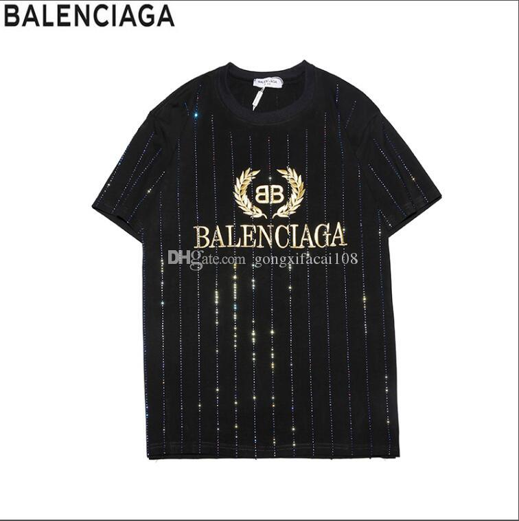 190acf95 HOT Brand BALENCIAGA Men's T-Shirts cotton summer short Men's Women  Clothing t-shirt Tees & Polos free shipping