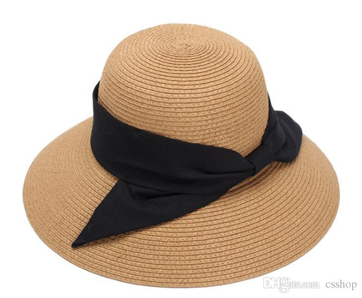 Acquista Cappello Estivo Da Donna 2018 Primavera E Estate Nuova Versione  Coreana Cappello Da Pescatore Annodato A Farfalla 3fac864ae82e