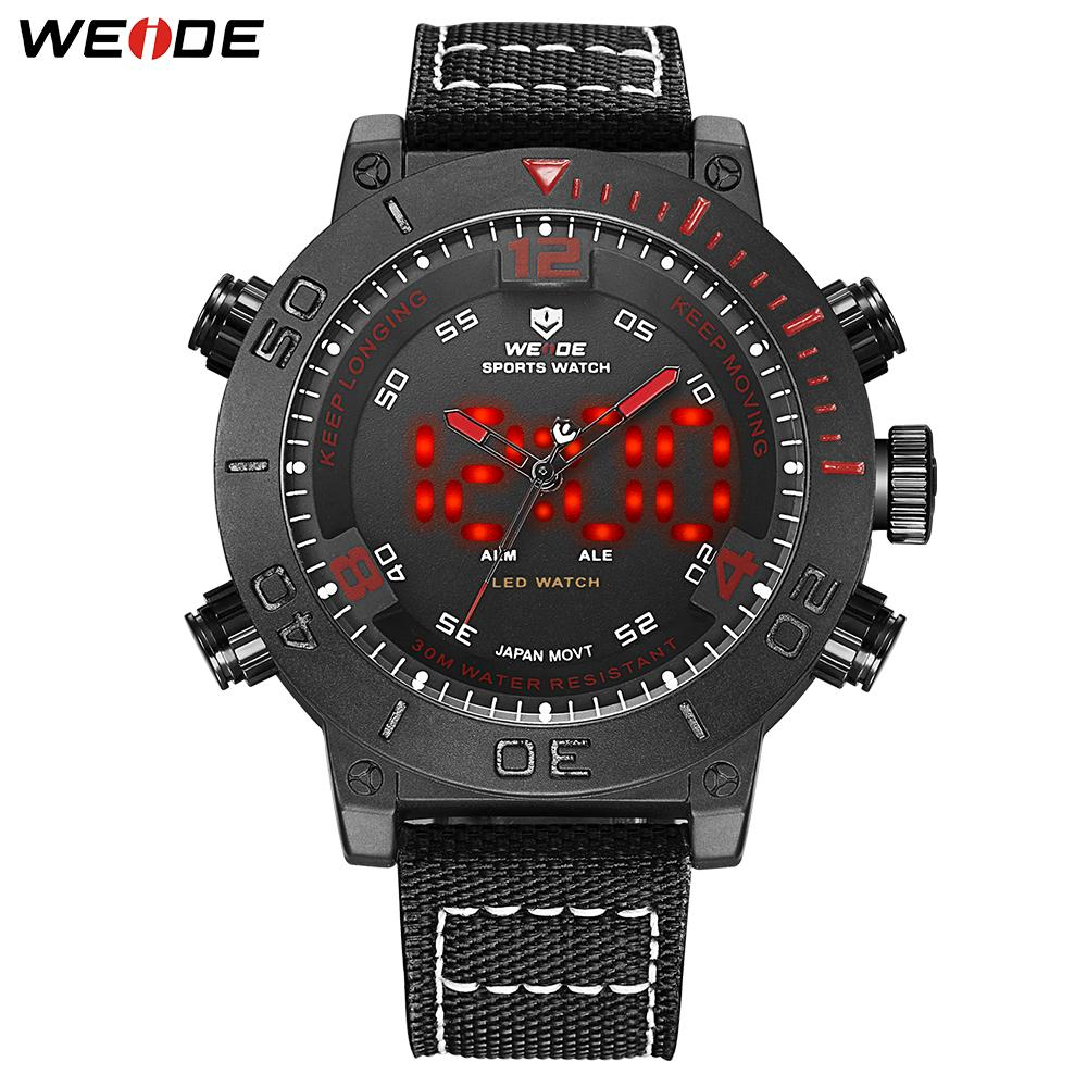 WEIDE Sports LED Alarm Digital 24 Hours  Army Quartz Movement Big Dial Watches Analog Wristwatch Army Clock men's Design