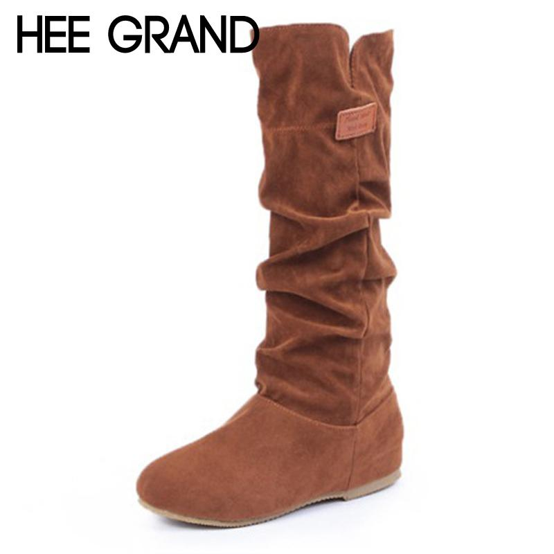 d6c729a74ad HEE GRAND Over The Knee Boots Faux Fur Flock Winter Women Boots Slim Flat  With Fashion Warm Fur Inside Boot Shoes Woman XWX6900 Black Boots Boots  Pharmacy ...