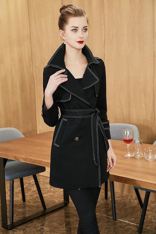 0cebda77f2b154 Nouvelles femmes noires veste courte trench ouvert ligne manteau à double  boutonnage vestes trench-coat vêtements robes blouses chemises t-shirts