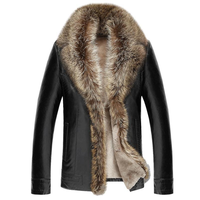 cfd94003 Chaqueta de cuero de los hombres de invierno abrigo de cuello de piel de  mapache real abrigos de forro de piel de cordero Chaquetas de cuero de ...