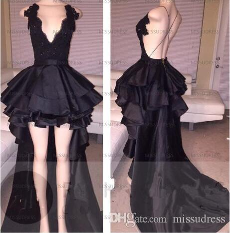 eb4c2566b4f High Low Prom Dresses Black V Neck Satin Sexy Party Evening Gowns Short  Front Back Long Lace Prom Dress 2019 Sequin Prom Dress Short Dresses For  Prom From ...