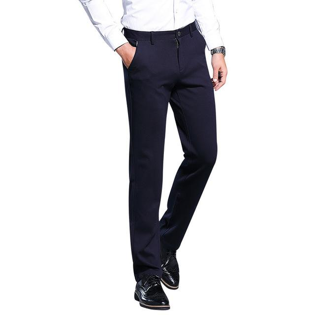ecd903ce0d Compre 2019 Pantalones De Traje Para Hombre Pantalón De Vestir Slim Fit  Pantalones De Oficina Ropa De Trabajo Pantalones Hombre Tallas Grandes  Business ...