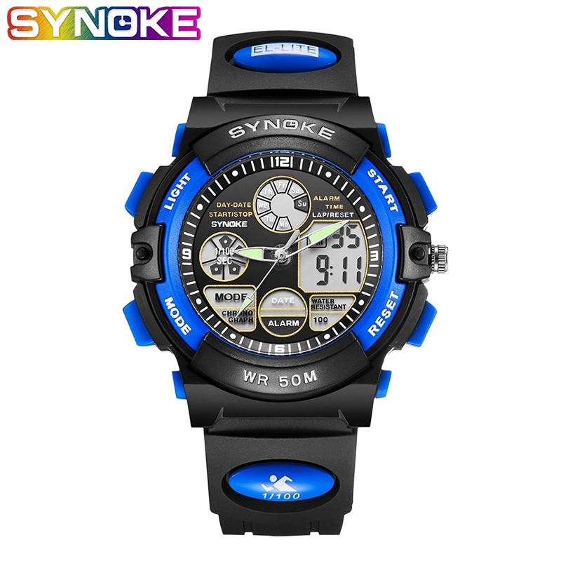 SYNOKE Kids Watches Boys Watch per bambini Bambini Stop Watch Boys Watches 3Bar Blue Yellow Outdoor Sports Relojes