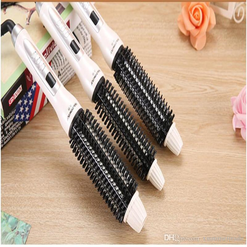 electric anion hair curler iron fast heat straightener comb roller waver brush straighter round hairbrush salon styler curling
