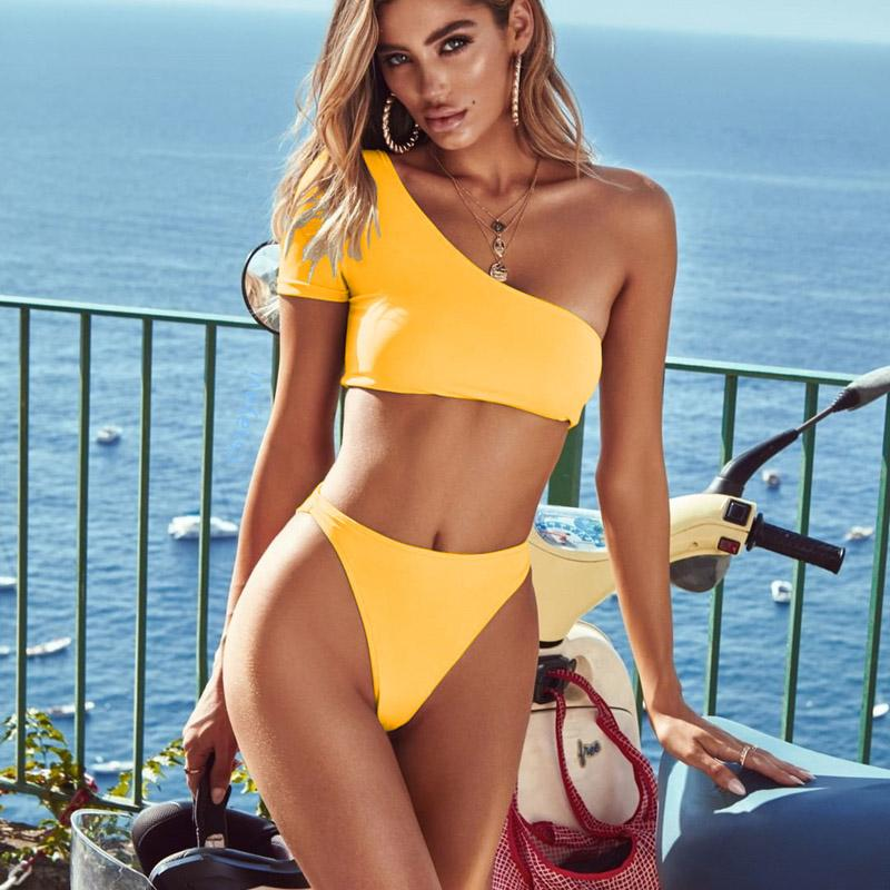 Solid Bikini 2019 One Shoulder Push Up Bikini Set Mujer Swimsuit Swimwear Bathing Suit Women's Swimming Suit High Waisted Thong
