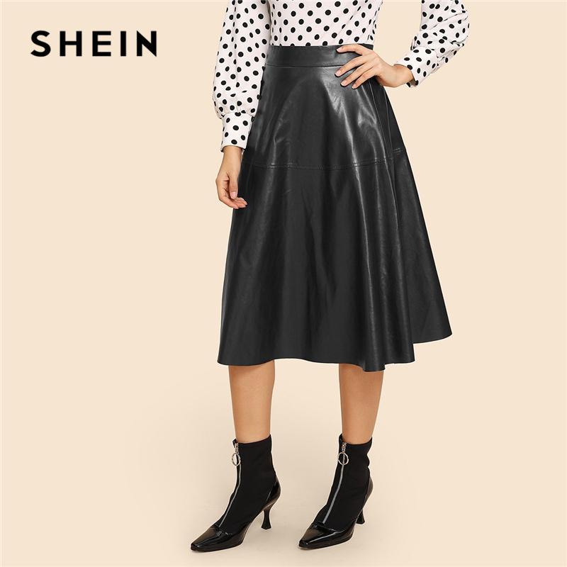 115d269275 2019 SHEIN Vintage Black Zip Detail Flare 70s PU Mid Waist Plain Skirt  Office Lady Minimalist A Line Zipper Long/Full Length Skirts From  Lbdapparel, ...