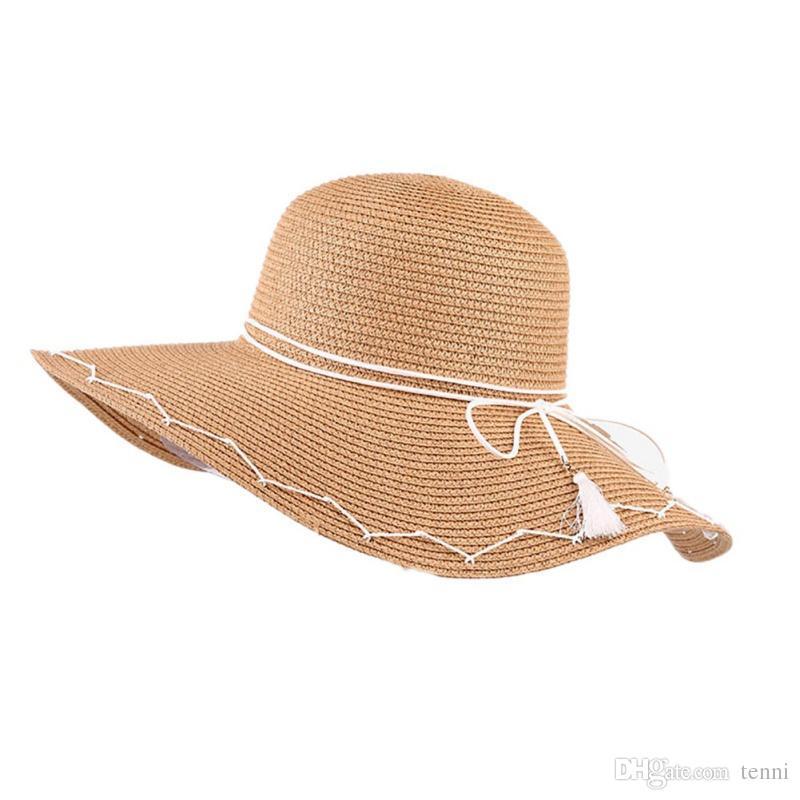 407f720e1ceea Handmade Straw Sun Hat Women Lady Bow Knot Ribbon Wide Brim ...
