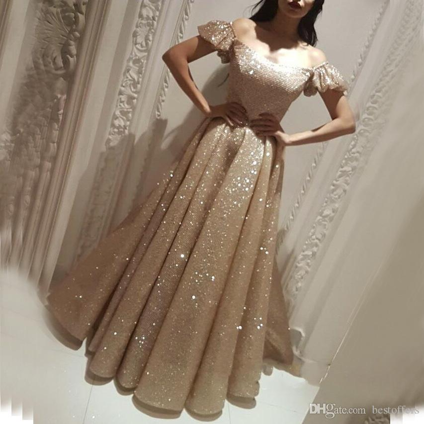 Glitz Arabic Bubble Sleeves Off The Shoulder Prom Dresses 2019 New Princess Floor  Length Sequins A Line Evening Gowns White Prom Dresses Uk 2015 Prom Dress  ... 13978c25a9a9