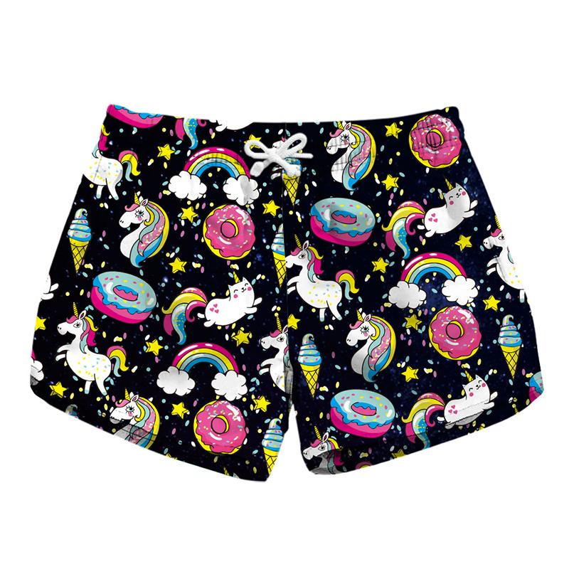 f1367b0cabf2d 2019 Women Short Beach Shorts Unicorn Donut Rainbow Ice Cream 3D Full Print  Girl Casual Swimming Shorts Lady Beach Pants Boardshort RLbp 6020 From ...