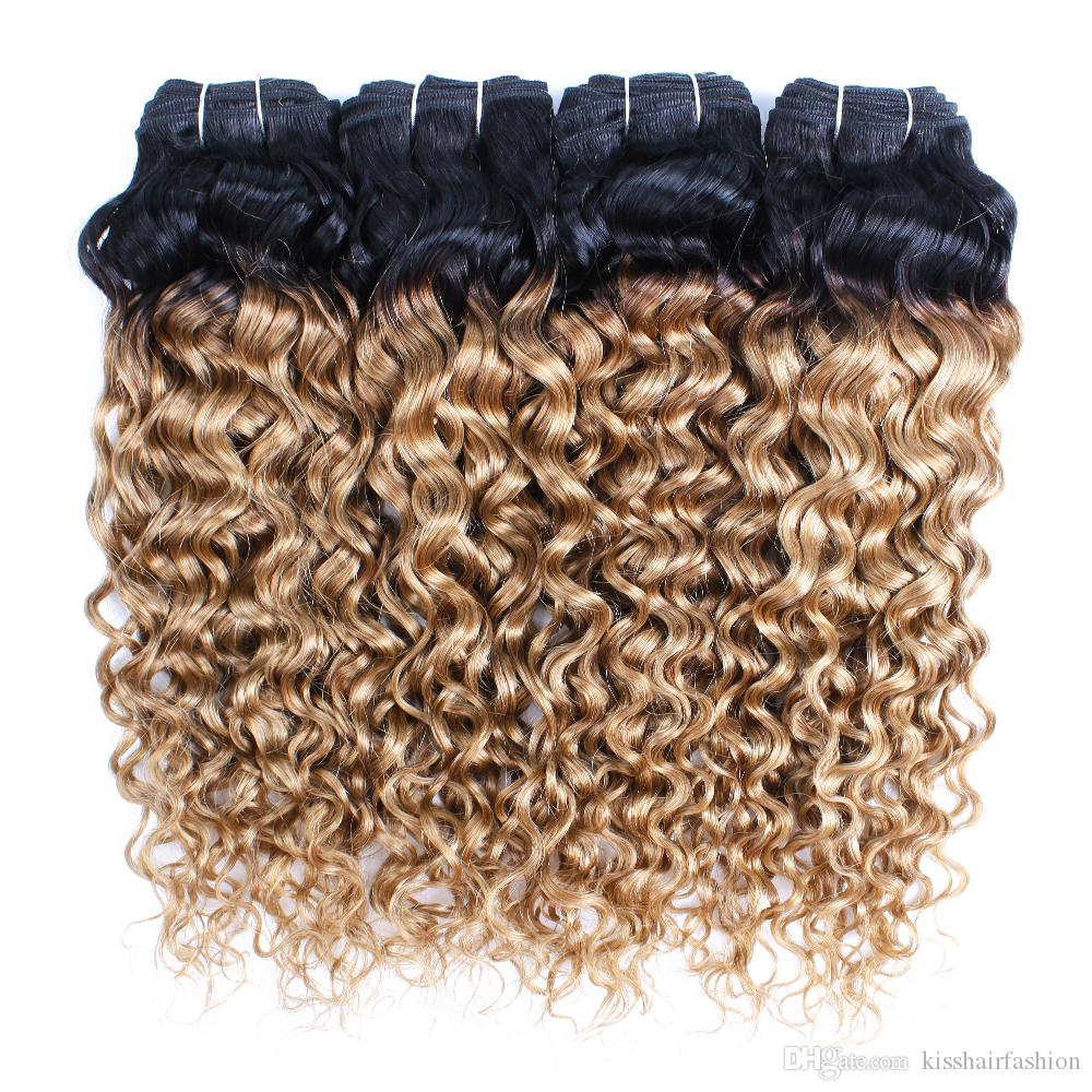KISSHAIR T1B27 water wave hair bundles honey blonde with dark roots 3/4 bundles deal virgin Brazilian Indian Peruvian Malaysian human hair