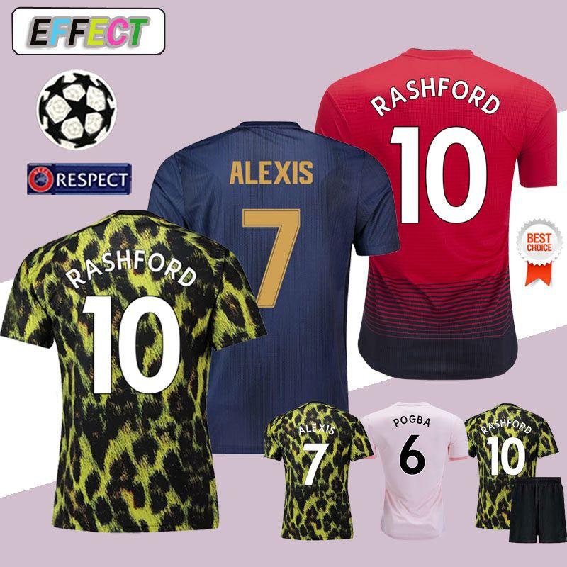 2018 Manchester United FC POGBA Camisas de Futebol Soccer Jerseys LUKAKU  RASHFORD MATA Alexis FRED MATIC Football Kit Camisa Espanhola de Futebol de  Alta ... 2c749ce106480