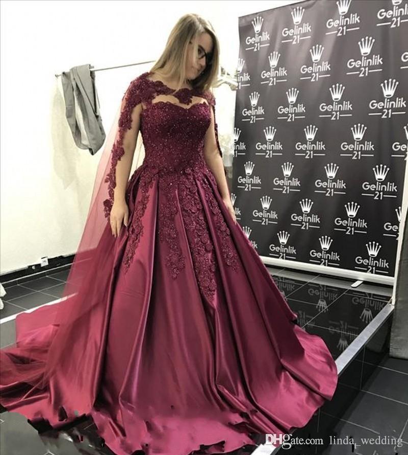 2da36406d 2019 Borgoña Quinceañera Vestido Princesa Árabe Dubai Joya Cuello Dulce 16  Edades Muchachas Largas Fiesta de graduación Vestido del vestido más ...