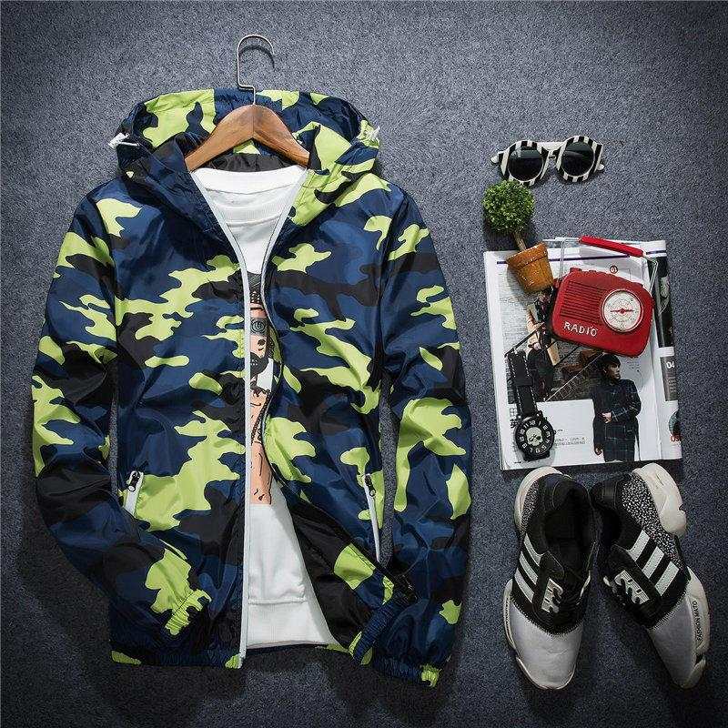New Jacket Casual Windbreaker Long Sleeve Mens Jackets Fashion Zipper Pocket Mens Hoodie Coat Camouflage Jackets Plus Size M-5XL