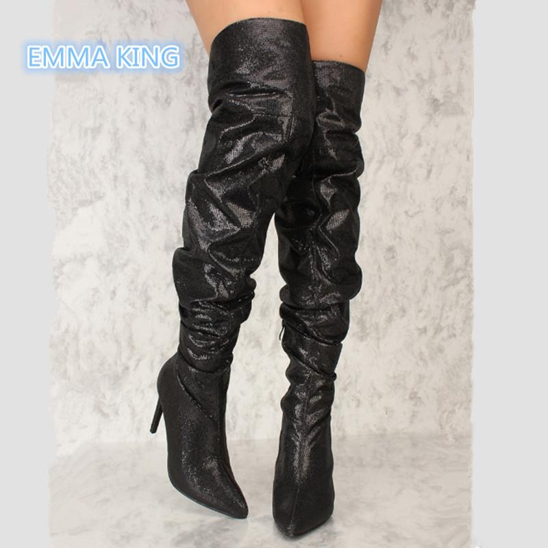 e17f5115cb Fashion Pleated Designer Over Knee Boots Women Pointed Toe High Heels Sexy  Thigh High Boots Side Zipper Stilettos Sequin Booties Shoe Boots Over Knee  Boots ...
