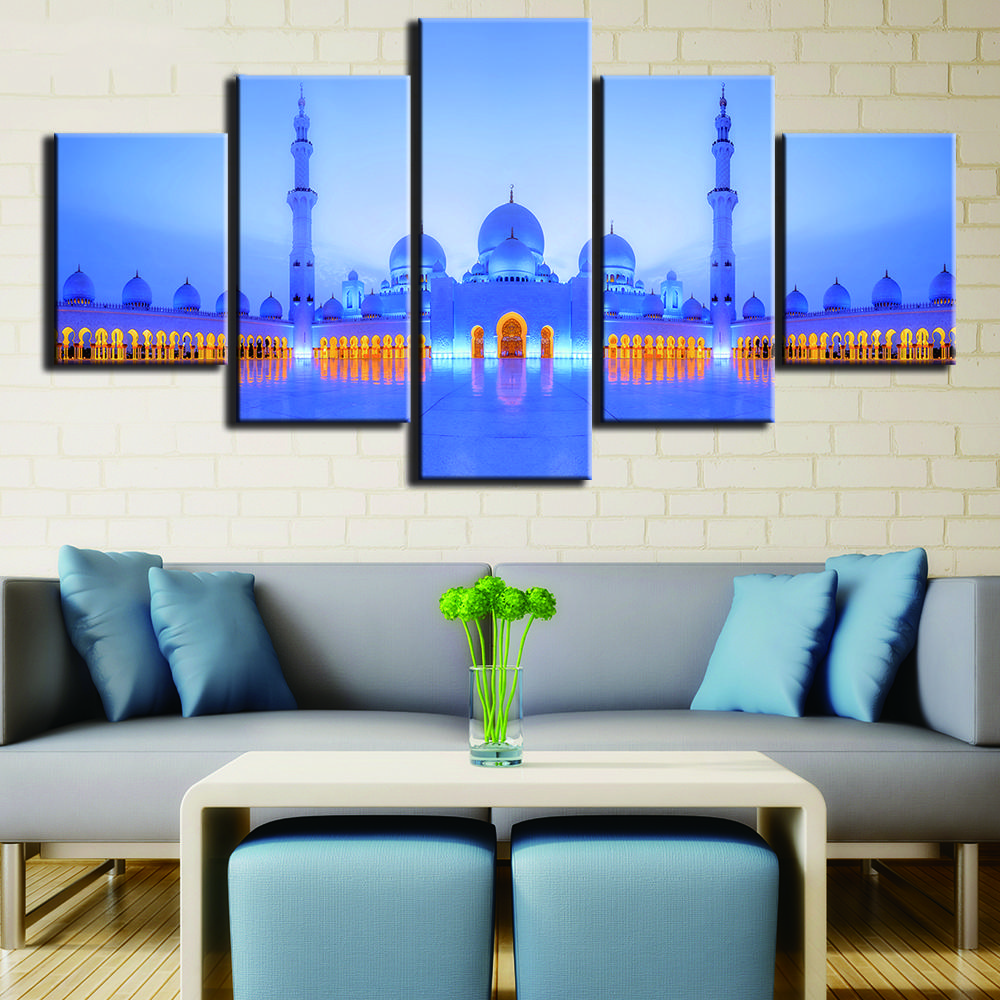 2019 Home Decoration Print Minimalism 5 Panel Beautiful Castle Building Vintage Wall Art Canvas Painting Pictures For Living Room From Z793737893