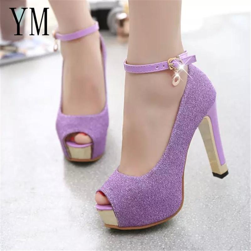 Ankle Strap Women Pumps High Heels Paillette Wedding Purple Stiletto High  Heels Peep Toe Women Heel Sandals Ladies White Mountain Shoes Scholl Shoes  From ... 70ff46e016d3