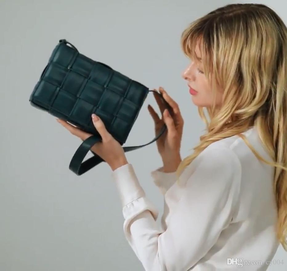 Yastıklı Kaset Yeni Tasarımcı Lüks Çanta Yastık Retro Gerçek Gerçek Deri Omuz Ekmek Çanta Bayan Çantası