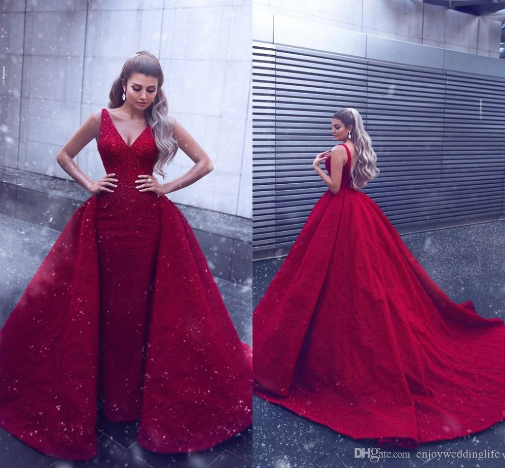 Said Mhamad Red Formal Evening Dresses 2019 V Neck Lace Mermaid Prom Dresses  With Detachable Train Lace Sequins Celebrity Gowns Pictures Of Evening  Dresses ... 07807d71ae25