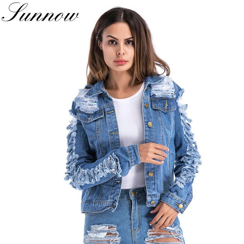 7593ec7244e0 Sunnow Women Jean Jacket Ripped Hole Loose Casual Coat Womens Streetwear  Long Sleeve Denim Jackets Female Basic Coats C19041701 Jeans Jackets Cheap  Leather ...